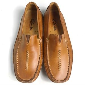 Clarks England Men's Tan Leather Loafers Size 8.5M